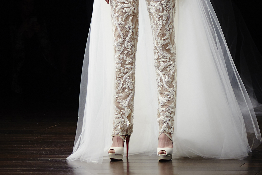 f6cc7bcd1763 Custom sequined Vitish and hand beaded Belle booties from Christian  Louboutin graced Naeem Khan s spectacular 2018 Bridal Collection